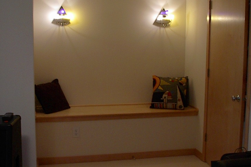 built in bench, remodeled lower level