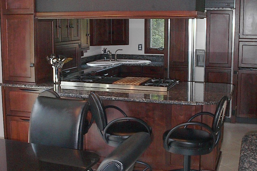 kitchen remodel, stainless steel appliances, stained cabinets, breakfast bar