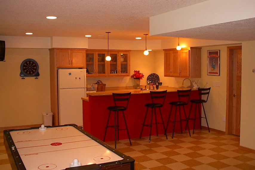 bar area, remodeled lower level