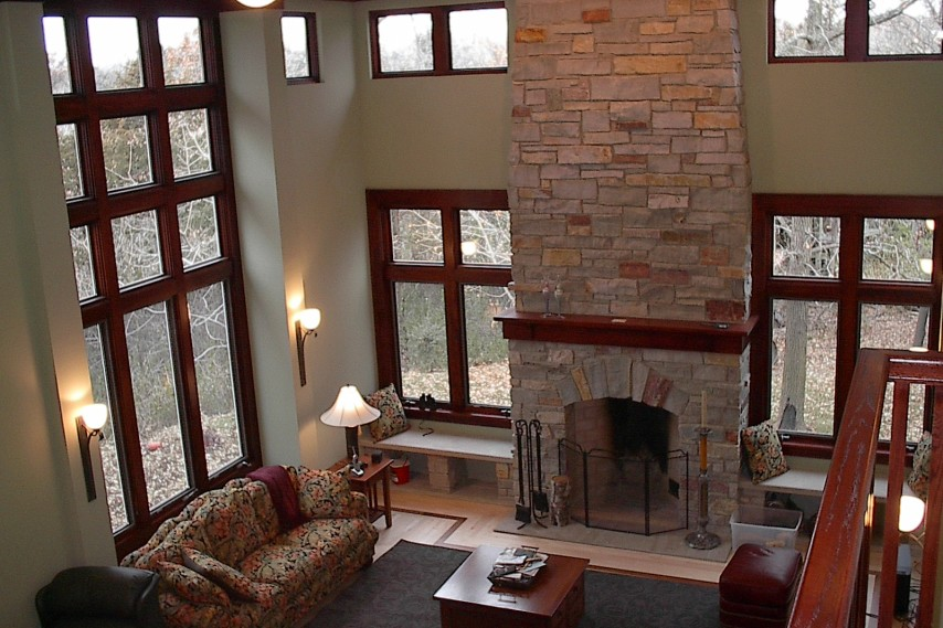stone, fireplace, stone fireplace, tall ceilings